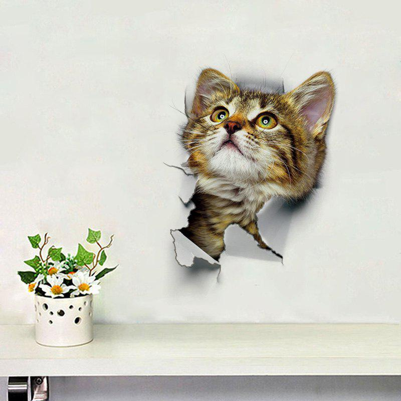 3D Cat Wall Sticker For Bathroom Bedroom Decor bathroom decor floral toilet lid wall sticker