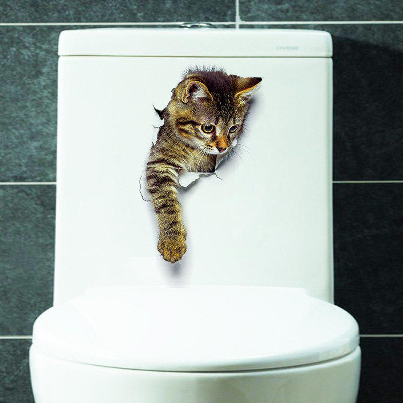 2018 3d Cat Wall Sticker For Bathroom Bedroom Decor Brown