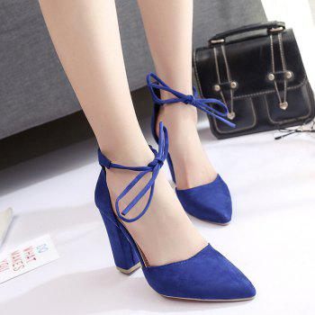 Chunky Heel Pointed Toe Ankle Lace Pumps