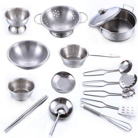 Ultra-resistant Drop of Stainless Steel Kitchen Utensils Toys 16pcs for Children - SILVER