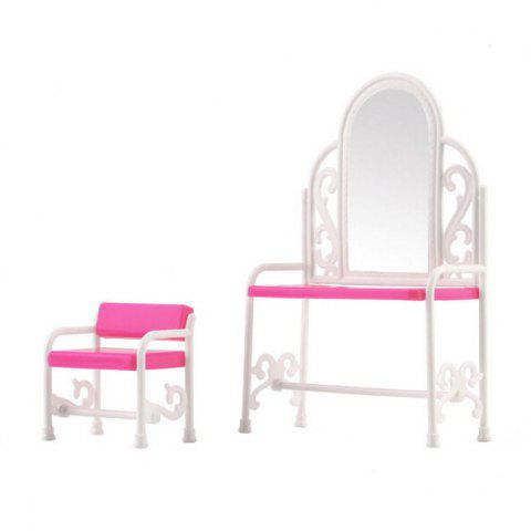 Kids Simulation Doll Dressing Table + Chair Toy Set - PINK