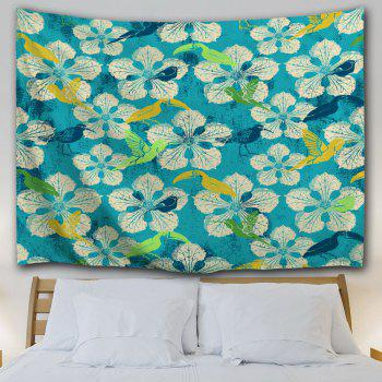 Pastoral Floral Wall Hanging Throw Tapestry - LAKE BLUE W59 INCH * L79 INCH