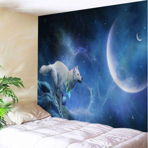 Wall Hanging Wolf Moonlight Print Tapestry - NIGHT BLUE W71 INCH * L91 INCH
