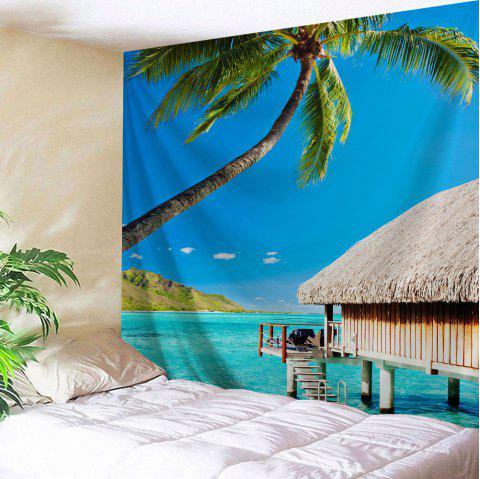 Island Beach Scenic Wall Art Decorative Tapestry - SKY BLUE W51 INCH * L59 INCH