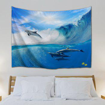 Surfing Dolphin Wall Hanging Tapestry For Bedroom - OCEAN BLUE W59 INCH * L79 INCH