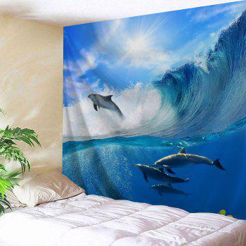 Surfing Dolphin Wall Hanging Tapestry For Bedroom