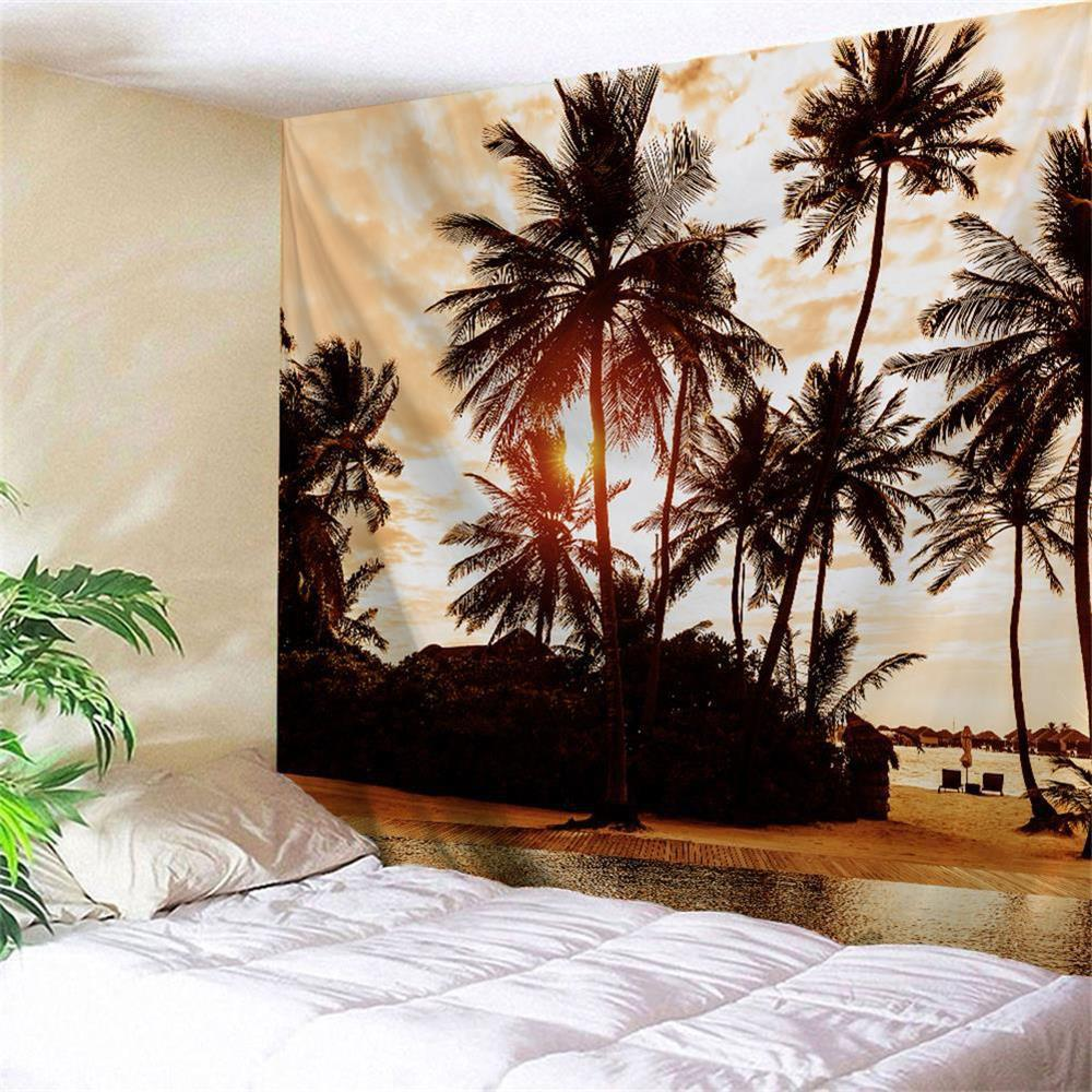 Sunset Palm Tree Wall Hanging Fabric Tapestry sunset park
