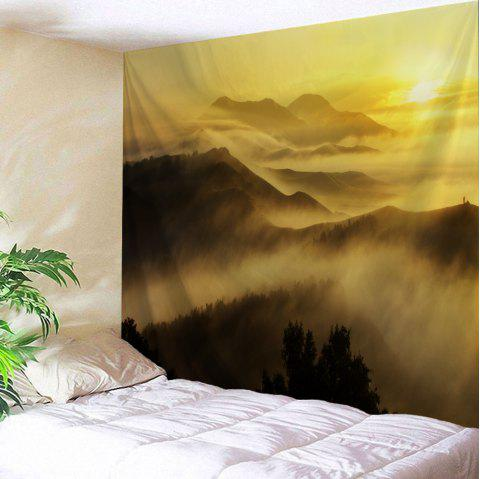 Misty Mountains Scenery Wall Blanket Tapestry - Jaune W59 INCH * L79 INCH