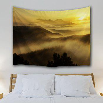 Misty Mountains Scenery Wall Blanket Tapestry - YELLOW W59 INCH * L59 INCH