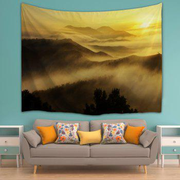 Misty Mountains Scenery Wall Blanket Tapestry - YELLOW W59 INCH * L79 INCH
