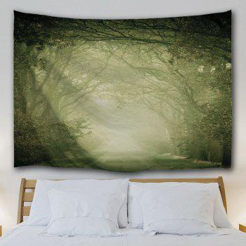 Wall Art Hanging Mist Forest Fairyland Tapestry - LIGHT GREEN W71 INCH * L91 INCH