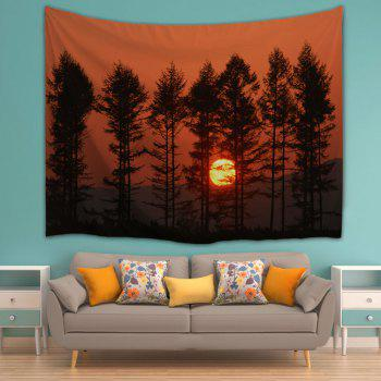 Sunset Spinney Wall Hanging Polyester Tapestry - DARK AUBURN W59 INCH * L79 INCH