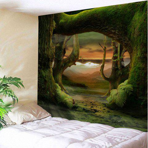 Fairyland Forest Room Decorative Wall Tapestry - DEEP GREEN W59 INCH * L59 INCH