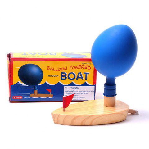 Balloon Powered Wooden Boat Paddle Toy for Kids - BLUE
