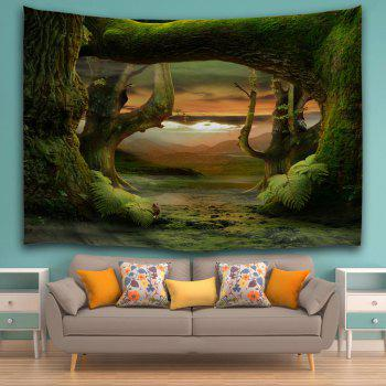 Fairyland Forest Room Decorative Wall Tapestry - DEEP GREEN W59 INCH * L79 INCH