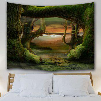 Fairyland Forest Room Decorative Wall Tapestry - DEEP GREEN W71 INCH * L91 INCH