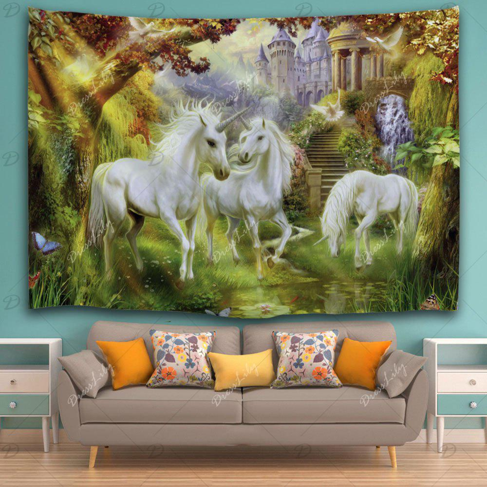 Unicorn Fairyland Throw Wall Hanging Tapestry - multicolorcolore W59 INCH * L59 INCH