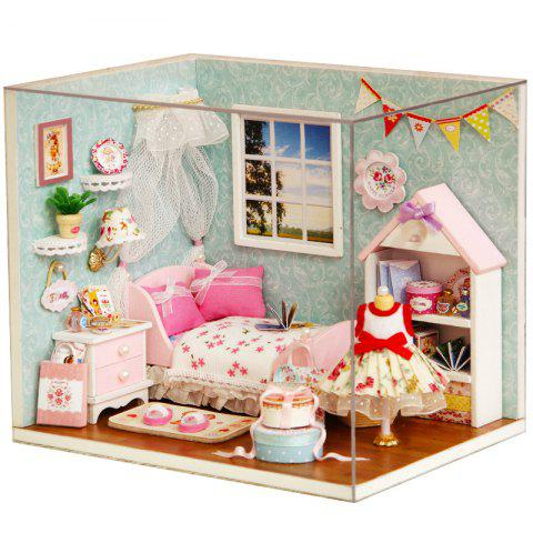 DIY Pretend Play Princess Bedroom Wooden Dollhouse with LED Light - COLORMIX