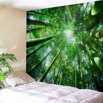 Bamboo Forest Printed Wall Hanging Tapestry - GREEN GREEN