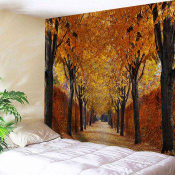 Autumn Grove Scenery Print Throw Wall Tapestry - GOLD BROWN GOLD BROWN