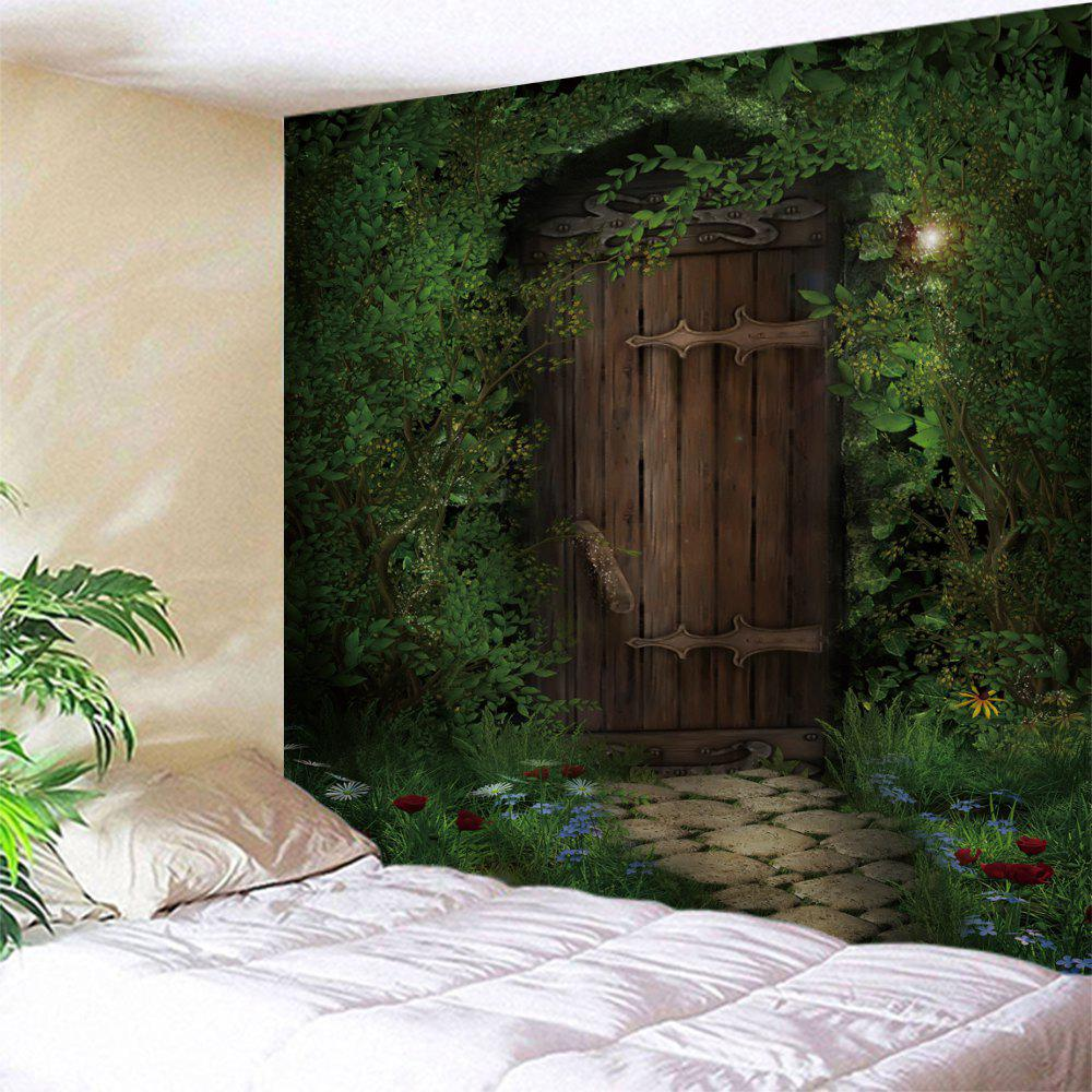 Trees Wood Door Print Tapestry Wall Hanging Art trees wood door print tapestry wall hanging art