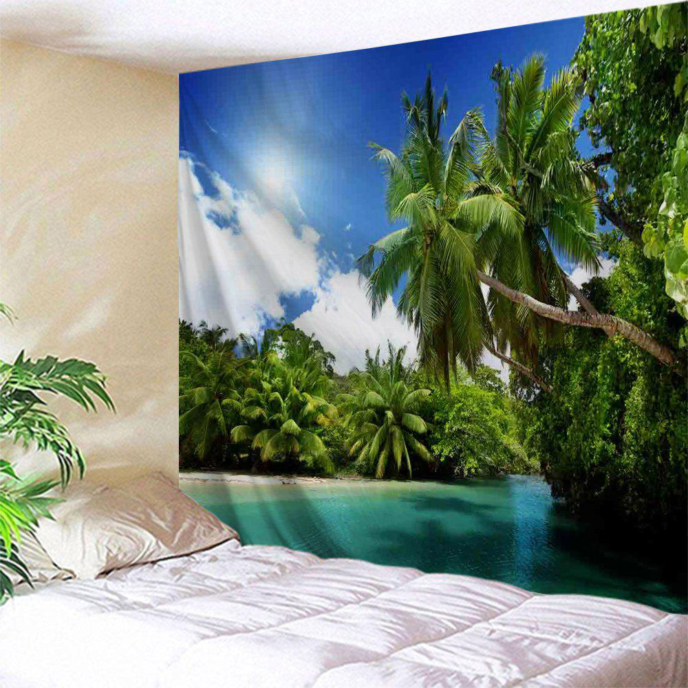 Coconut Tree Water Print Tapestry Wall Hanging Art nature tree hole wall art tapestry