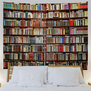 Bookshelf Printed Wall Blanket Polyester Tapestry - COLORMIX W71 INCH * L91 INCH