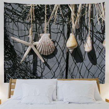 Fishing Net Conch Print Wall Décoration Tapisserie - gris foncé W71 INCH * L91 INCH