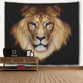 Lion Head Print Decorative Wall Hanging Tapestry - DARK COFFEE W71 INCH * L91 INCH