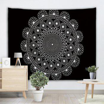Mandala Polyester Fabric Decorative Wall Tapestry - BLACK WHITE W71 INCH * L79 INCH