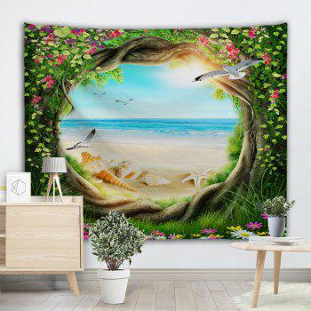 Fairy Tree Beach Scenery Wall Art Decor Tapestry - multicolore W71 INCH * L79 INCH