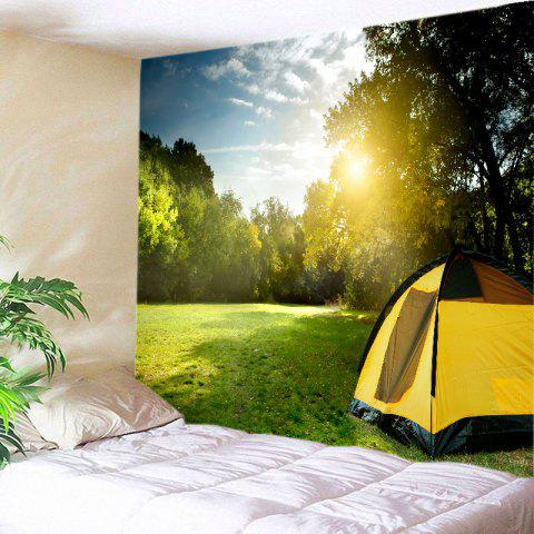 Forest Lawn Tent Print Tapestry Wall Hanging Art - GREEN W79 INCH * L59 INCH