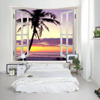 Fenêtre Sunset Beach Print Tapestry Wall Hanging Art - multicolorcolore W79 INCH * L59 INCH