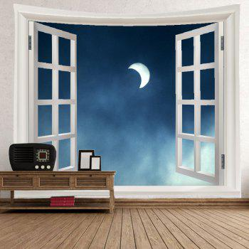 Window Moon Print Tapestry Wall Hanging Art - Pierre Bleue W79 INCH * L59 INCH