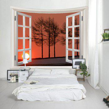 Fenêtre Sunset Trees Print Tapisserie Wall Hanging Art - Orange W79 INCH * L59 INCH