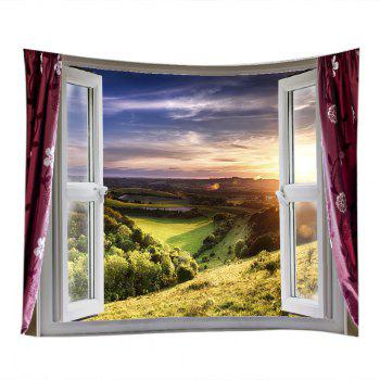 Fenêtre Nature View Print Tapestry Wall Hanging Art - Vert W59 INCH * L51 INCH