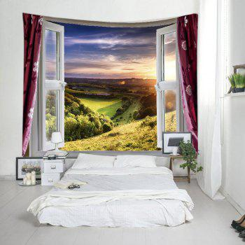 Fenêtre Nature View Print Tapestry Wall Hanging Art - Vert W59 INCH * L59 INCH