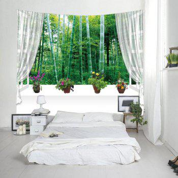 Fenêtre Bambou Forest Print Tapestry Wall Hanging Art - Vert W59 INCH * L51 INCH