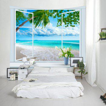 Window Tree Beach Print Tapestry Wall Hanging Art - Pers W79 INCH * L59 INCH