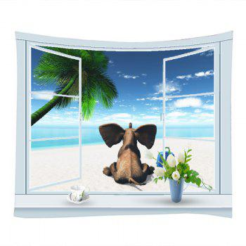 Window Beach Elephant Print Tapestry Wall Hanging Art - Pers W59 INCH * L51 INCH