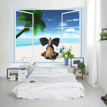 Window Beach Elephant Print Tapestry Wall Hanging Art - Pers W79 INCH * L59 INCH