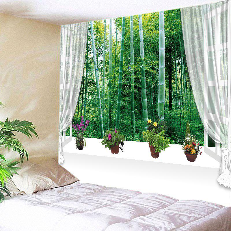 Window Bamboo Forest Print Tapestry Wall Hanging Art forest wooden bridge print tapestry wall hanging art