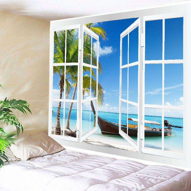 Window Boat Beach Print Tapestry Wall Hanging Art - Bleu W79 INCH * L59 INCH