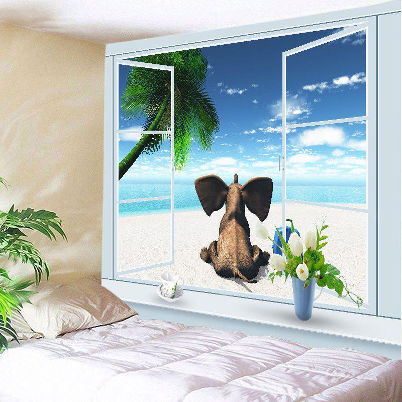 Window Beach Elephant Print Tapestry Wall Hanging Art - Bleu W59 INCH * L59 INCH