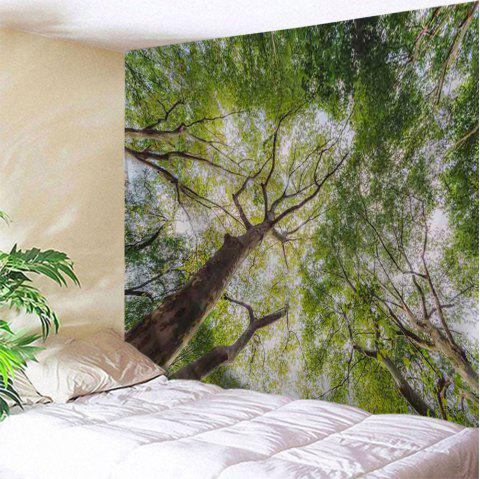 Forest Leafy Trees Print Tapestry Wall Hanging Art - GREEN W71 INCH * L79 INCH