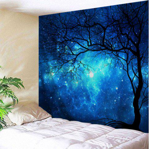 Galaxy Tree Print Tapestry Wall Hanging Art - BLUE W71 INCH * L79 INCH