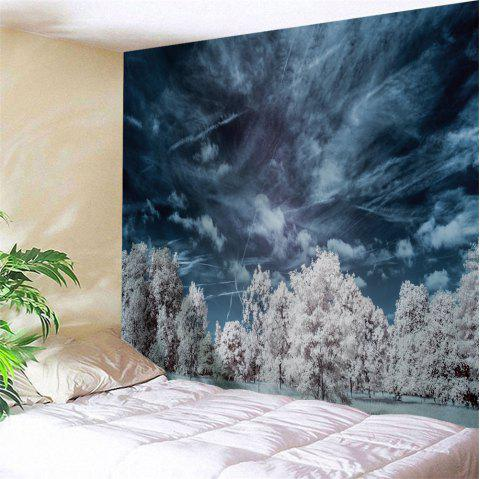 Mystery Forest Polyester Wall Blanket Tapestry - MIDNIGHT W71 INCH * L79 INCH