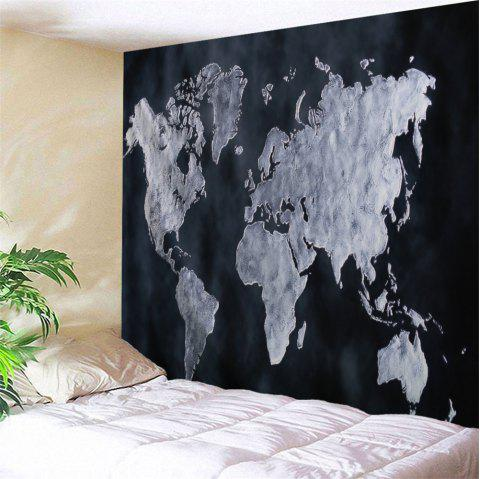 World Map Pattern Wall Tapestry For Home Decor - BLACK W71 INCH * L91 INCH
