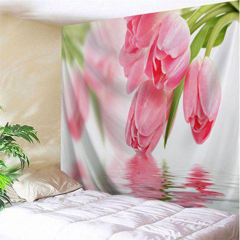 Water Tulip Printed Tapestry Wall Hangings - PINK W71 INCH * L91 INCH