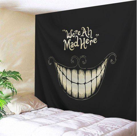 Halloween Funny Smile Printed Wall Art Decor Tapestry - BLACK W71 INCH * L91 INCH